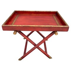Painted Red & Gold Tray Top Table with X Base