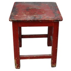 Painted Red Pine Kitchen Stool, circa 1920s