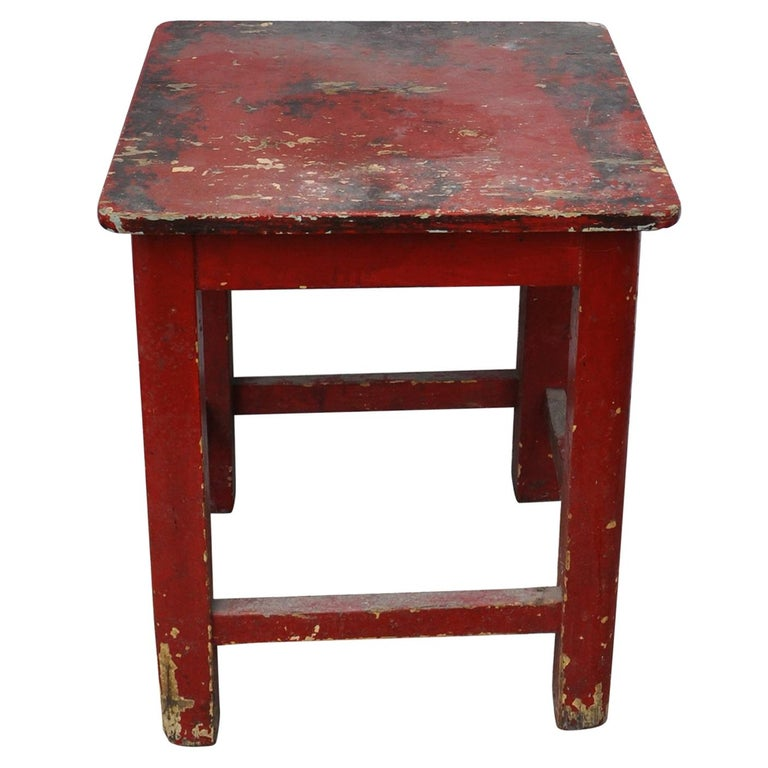 Fine Painted Red Pine Kitchen Stool Circa 1920S Gmtry Best Dining Table And Chair Ideas Images Gmtryco