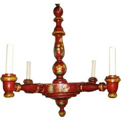 English Painted Wood Chandelier