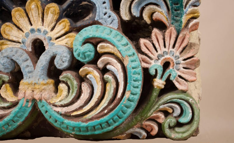 Large Painted Sandstone Architectural Fragment from India In Good Condition For Sale In Heath, MA