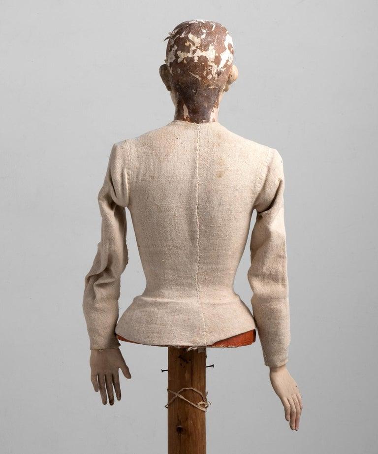 Canvas Painted Santos Figure, Spain 18th Century For Sale