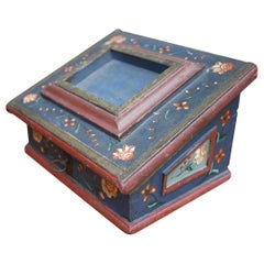 Exceptional Painted Jewelry Sewing Box, 18th Century