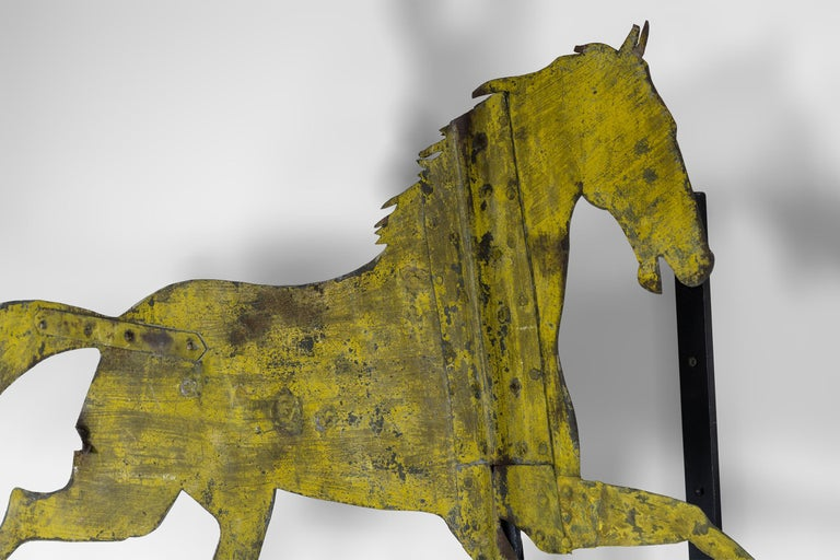 Folk Art Painted Sheet Iron Horse Weathervane For Sale