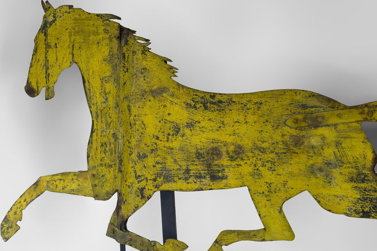 19th Century Painted Sheet Iron Horse Weathervane For Sale