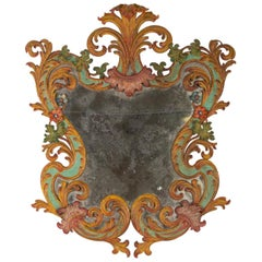 Painted Sheet Metal Mirror, Italy, Late 19th Century