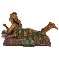 Painted Spelter Sculpture of a Reclining Figure by Hottot