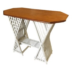 Painted Stick Rattan Console Table with Mahogany Top