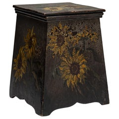 Painted Sunflowers Stool / End Table, France, circa 1880