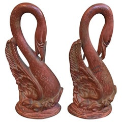 Pair of Late 19th Century Painted Swan Andirons with Rouged Finish