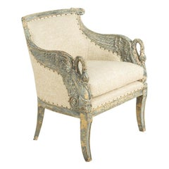 Painted Swedish Armchair in Empire Style