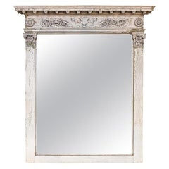 Antique White Swedish Empire Mirror with Neoclassical Motifs