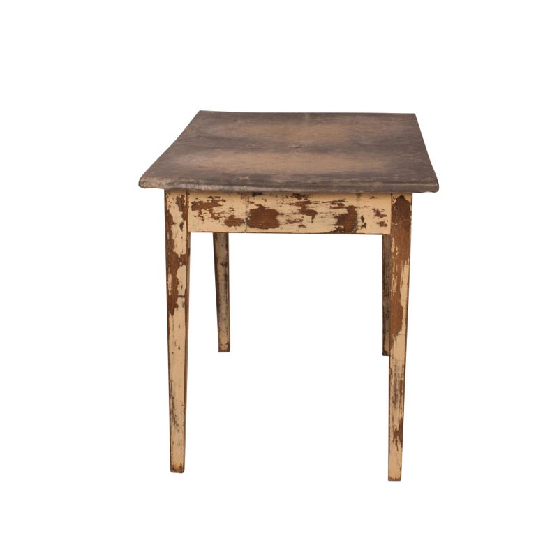Country Painted Table with a Zinc Top, France, 19th Century For Sale