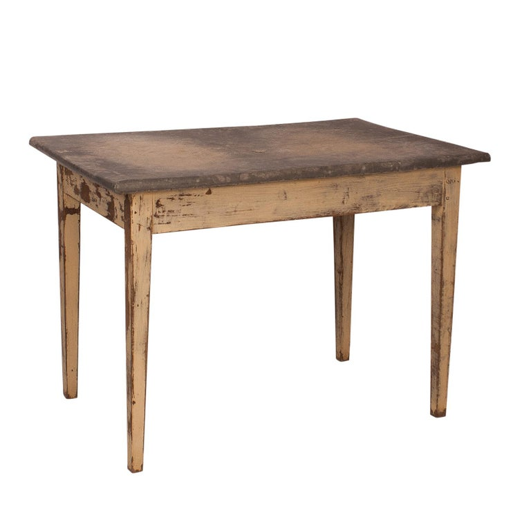 Painted Table with a Zinc Top, France, 19th Century For Sale