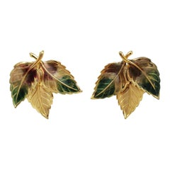 Painted Three Leaf Clip on Earrings in Gold, Green, and Brown. Vintage, Mid 1900