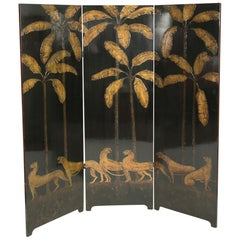 Painted Three-Panel Screen Attributed to Robert Winthrop Chanler