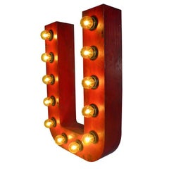 Painted Tin Letter of Luminous Signs U, Rewired with Bulbs, USA, 1930