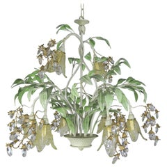 Painted Tole and Murano Glass Chandelier, circa 1930s
