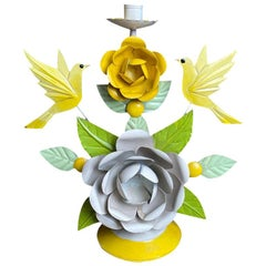 Painted Tole Candleholder with Yellow and Purple Flower and Bird Motif