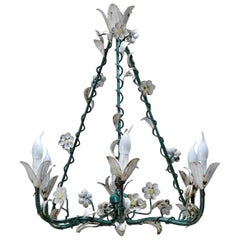 Painted Tole Flower Chandelier, France, circa 1940s