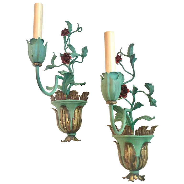 Hand-Painted Painted Tole Single Light Sconces For Sale