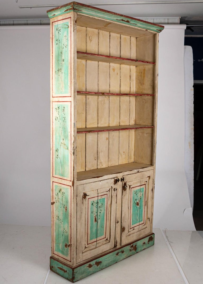 Painted Two-Door Bookcase For Sale 1