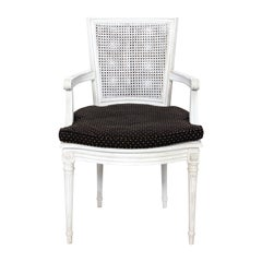 Painted White Louis XVI Style Canned Armchair