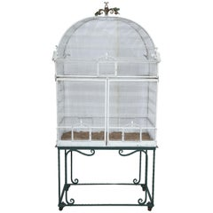 Painted White Metal Birdcage on Stand