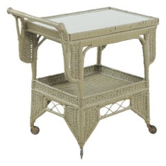 Painted Wicker Trolley Serving Table