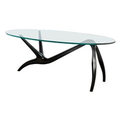 Painted Wood and Glass Low Table by Englander & Bonta, Argentina, circa 1950