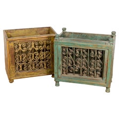 Painted Wood and Iron Magazine Racks, 20th Century