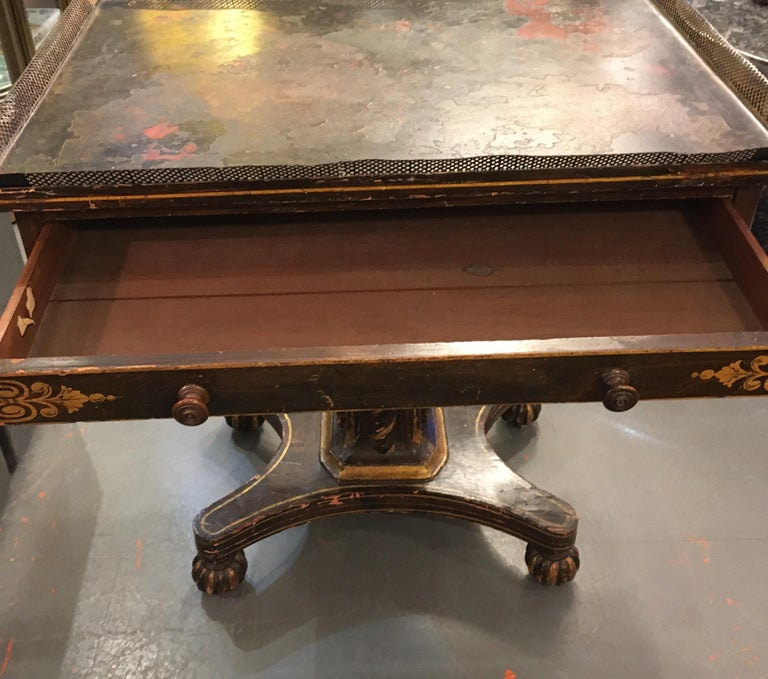 Painted Wood and Metal Side Table For Sale 10