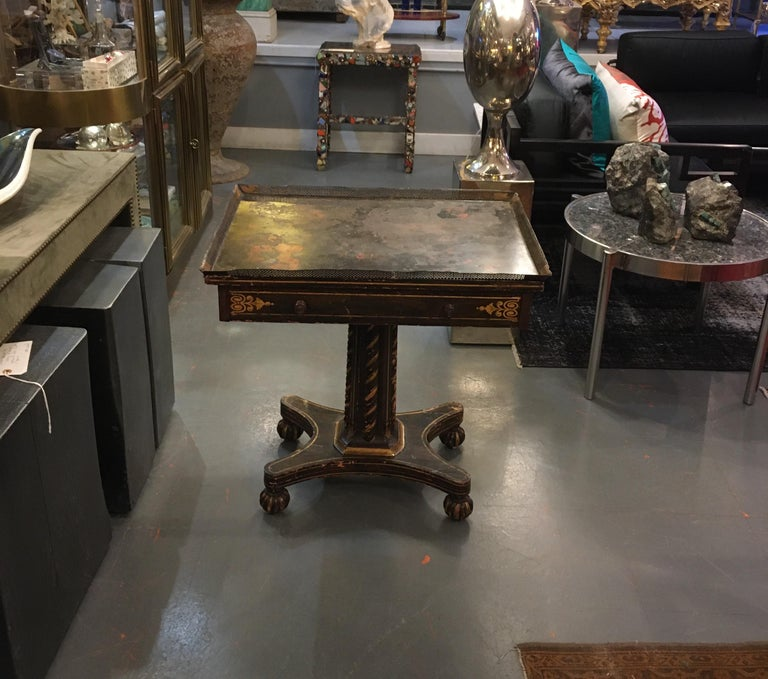 Painted Wood and Metal Side Table For Sale 15