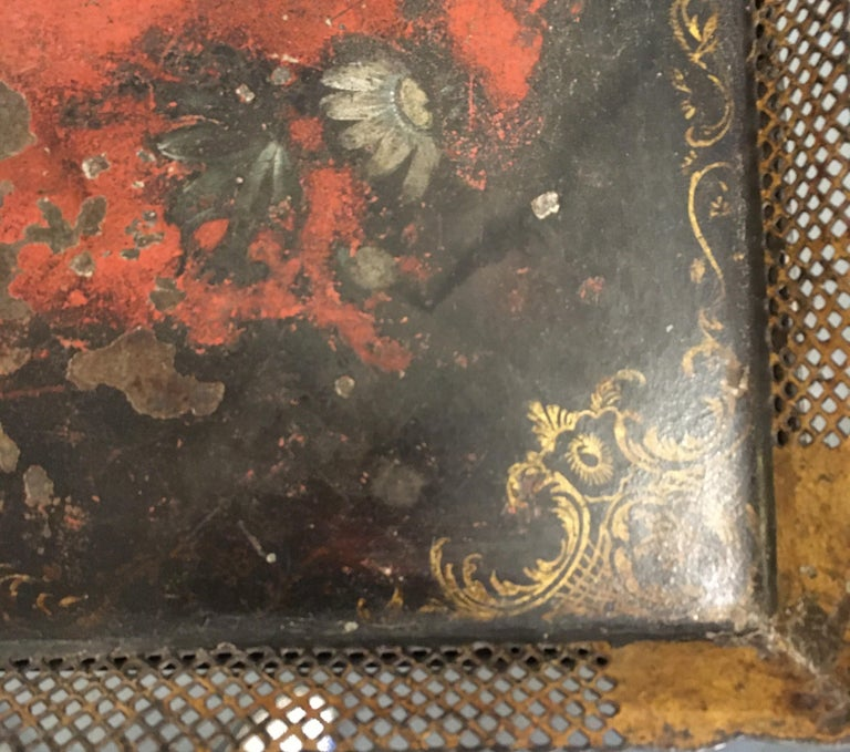 Carved wood, one drawer small scale side table with lift off metal tole painted tray top. Table is unfinished under metal tray top. Beautiful hand painting on entire piece, nice size, very versatile.