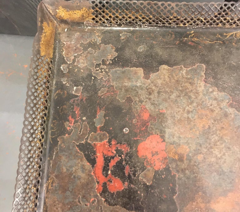Painted Wood and Metal Side Table For Sale 1