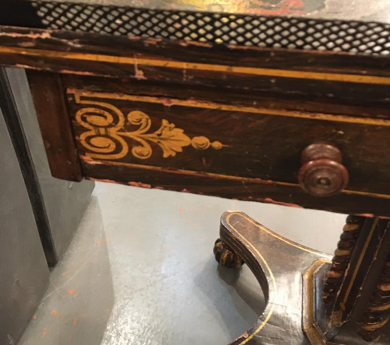 Painted Wood and Metal Side Table For Sale 3