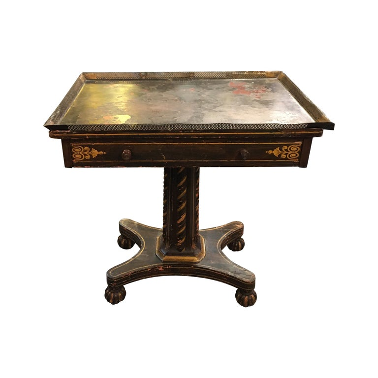 Painted Wood and Metal Side Table For Sale