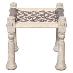 Painted Wood and Rope Stool