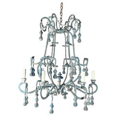 Painted Wood Beaded Chandelier by Melissa Levinson