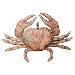 Painted Wood Crab Shop Sign