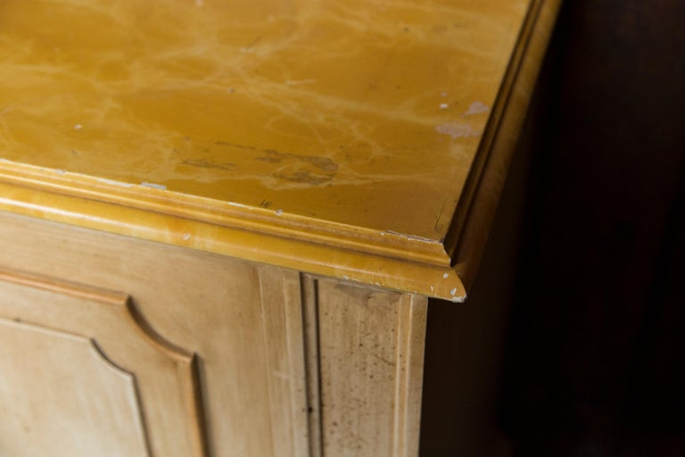 French Painted Wood Four-Door Credenza, France For Sale