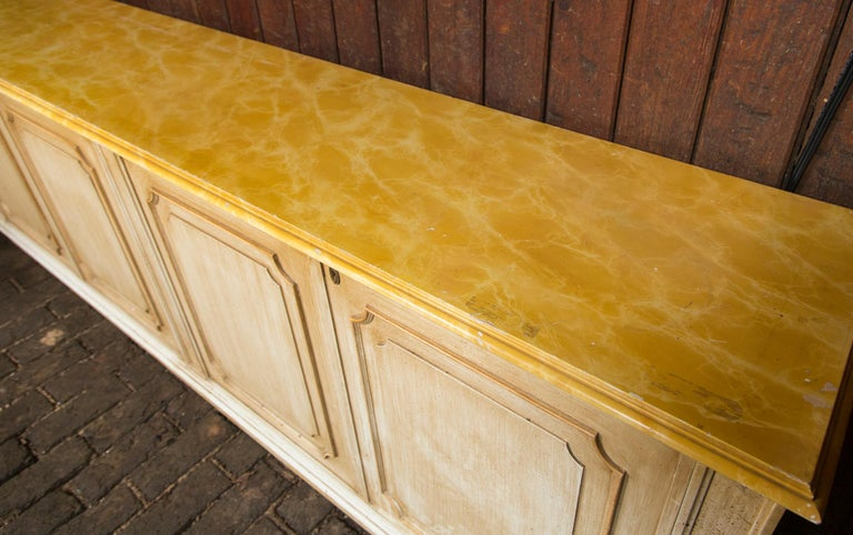 Painted Wood Four-Door Credenza, France In Good Condition For Sale In Stamford, CT