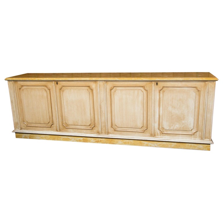Painted Wood Four-Door Credenza, France For Sale