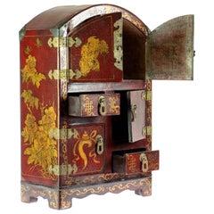 Painted Wood Jewelry Box Organizer Chinese Storage Mini Closet Asian Ornament