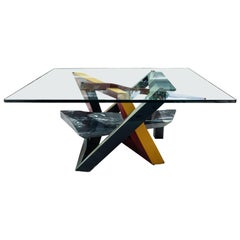 Painted Wood, Marble and Glass Low Table, Italy, circa 1980