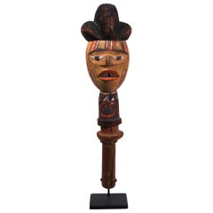 Painted Wood Puppet Head Kebe Kuyu People Congo African Tribal Art Unique Style