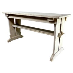Painted Wooden American Arts & Crafts Trestle Table, circa 1910
