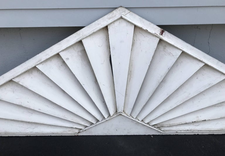 American Painted Wooden Louvered Triangle Architectural Transom or Door Fan For Sale