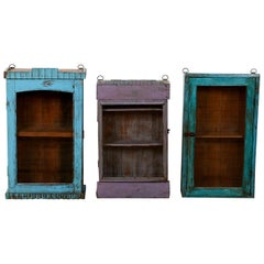 Painted Wooden Wall Mounted Display Cabinets, 20th Century