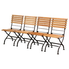 Painted Wrought Iron and Teak Wood Folding Garden Chairs, Set of Four